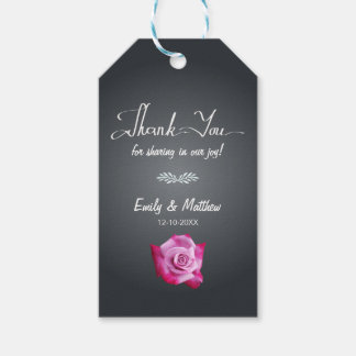 Pink Rose Chalkboard Wedding Thank You Gift Tags Pack Of Gift Tags