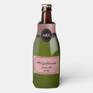 Pink Rosé Champagne Bottle Wedding Hashtag Cooler