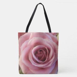 Pink Rose Close up Print Tote Bag