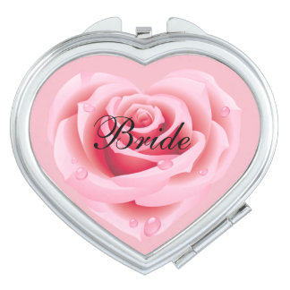 Pink Rose Compact Mirror