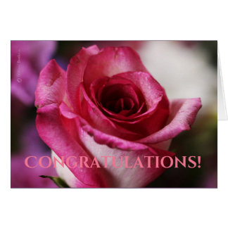 "Pink Rose ""Congratulations"" Card"