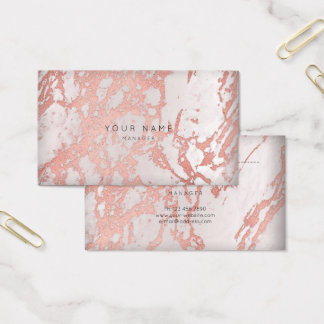 Pink Rose Copper Marble Vip Appointment Silver VIP Business Card