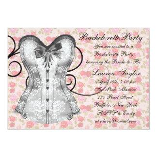 Pink Rose Corset Pink Black Bachelorette Party Card
