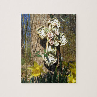Pink rose cover cross with yellow daffodil jigsaw puzzle