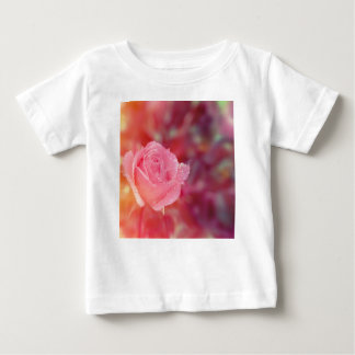 Pink rose covered by morning dew baby T-Shirt