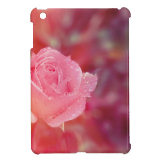 Pink rose covered by morning dew iPad mini covers
