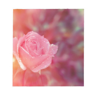 Pink rose covered by morning dew notepad