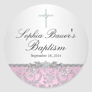 Pink Rose & Cross Baptism Sticker
