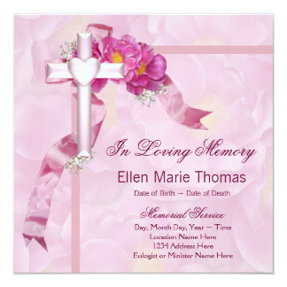 "Pink Rose Cross In Loving Memory Memorial 5.25"" Square Invitation Card"