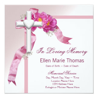 Pink Rose Cross In Loving Memory Memorial Card