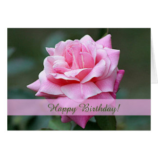 Pink Rose Custom Birthday Card