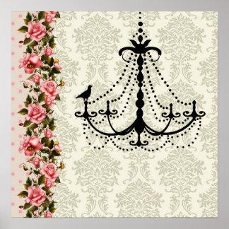 Pink Rose Damask Bird Chandelier Wall Art Print