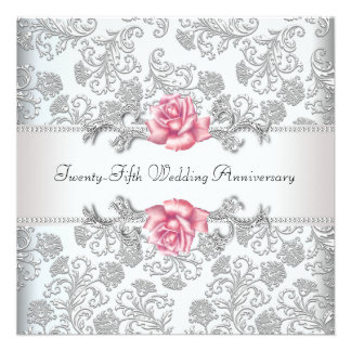 Pink Rose Damask Silver 25th Wedding Anniversary Custom Invite