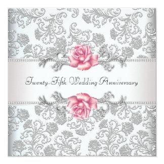 "Pink Rose Damask Silver 25th Wedding Anniversary 5.25"" Square Invitation Card"