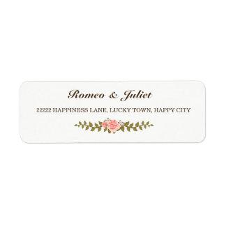 Pink Rose Decorated Wedding Return Address Label