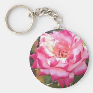 Pink Rose Design Basic Round Button Keychain