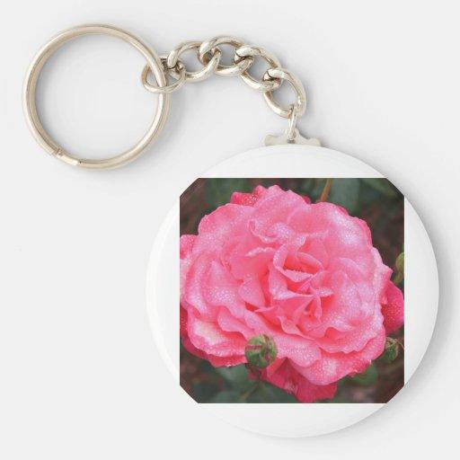 Pink Rose & Dew Keychain