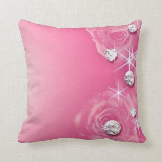 Pink Rose Diamonds Throw Pillow
