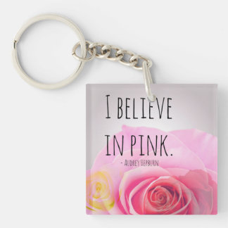 Pink rose Double-Sided square acrylic keychain