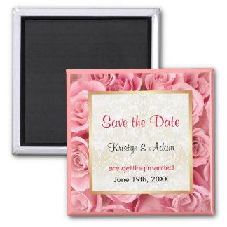 Pink Rose Elegance Square Magnet
