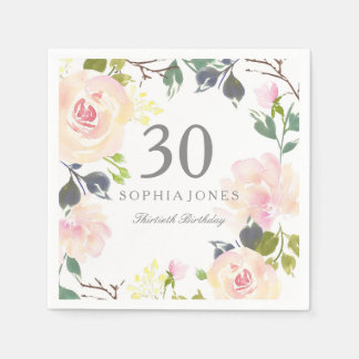 Pink Rose Elegant 30th Birthday Party Napkin