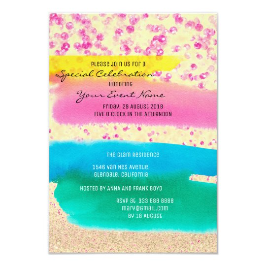 Pink Rose Emerald Blue Rainbow Sparkly Party Card