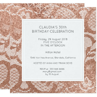 Pink Rose Faux Gold Powder Lace Birthday Party Card