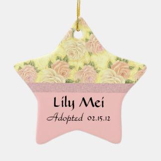 Pink Rose Floral Adoption Announcement Ceramic Star Ornament