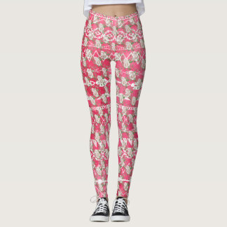 Pink Rose Floral Aztec Pattern Leggings
