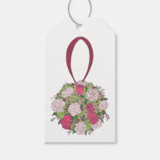 Pink Rose Floral Bride Bridesmaid Bouquet Gift Tag