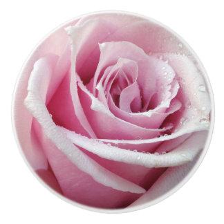 Pink Rose Floral Ceramic Knob