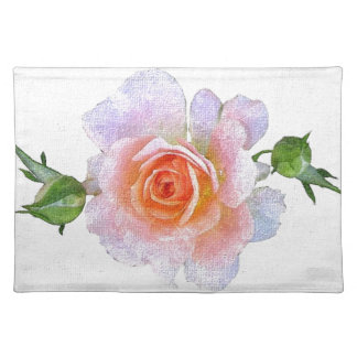 Pink Rose, floral oil painting art Placemat
