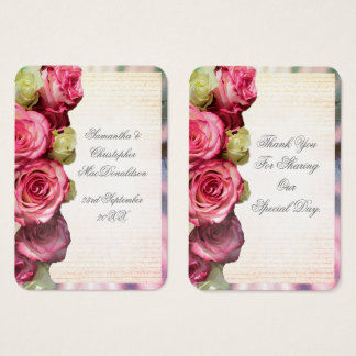 Pink rose floral romantic wedding thank you tag