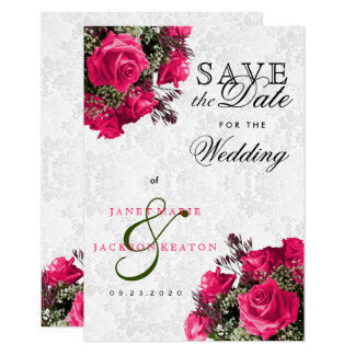 Pink Rose Floral  Save The Date Card