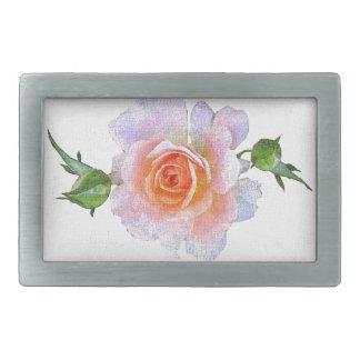 Pink Rose, floral vintage oil painting art Rectangular Belt Buckles