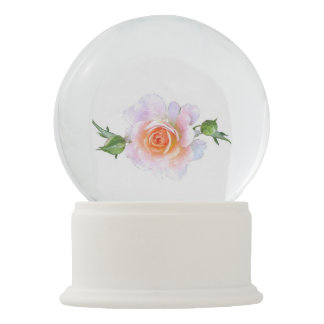 Pink Rose, floral watercolor painting art Snow Globe