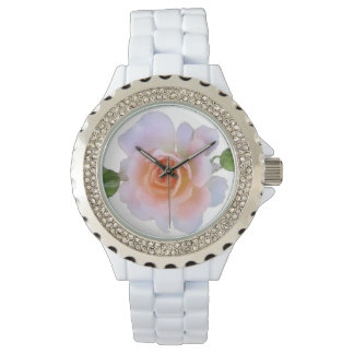 Pink Rose, floral watercolor painting art Watch