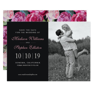Pink Rose Floral Watercolor - Save the Date Card