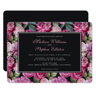 Pink Rose Floral Watercolor - Wedding Card