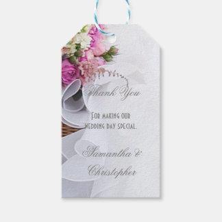 Pink rose floral wedding favor thank you tag