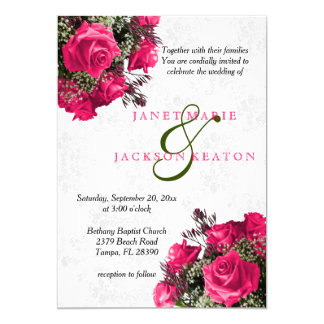 Pink Rose Floral Wedding Invitation