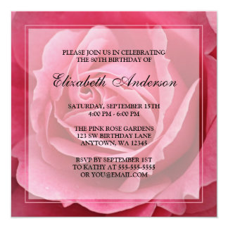 "Pink Rose Flower 80th Birthday Party 5.25"" Square Invitation Card"