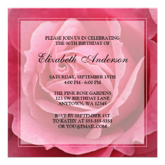 Pink Rose Flower 80th Birthday Party Announcement