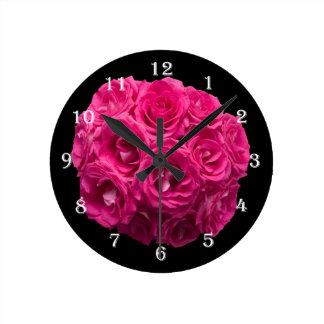 Pink Rose Flower Bouquet Wall Clock