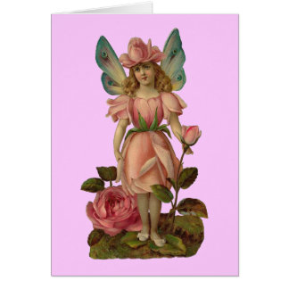 Pink Rose Flower Fairy Card