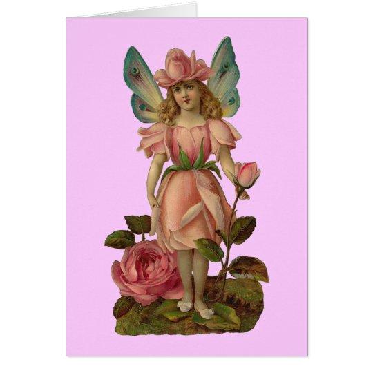 Pink Rose Flower Fairy Card