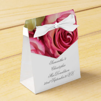 Pink rose flower floral romantic wedding favor box