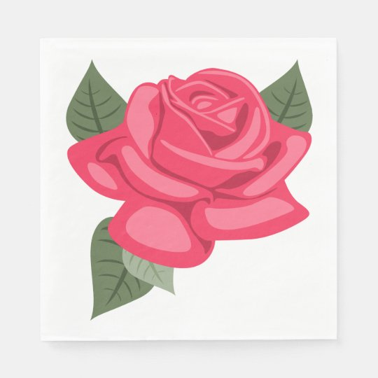 Pink Rose Flower Floral Wedding / Party Disposable Napkin
