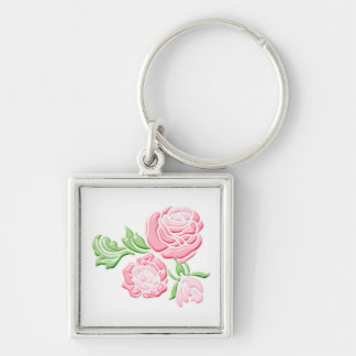 Pink Rose Flower Key Chain