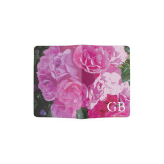 Pink rose flower passport holder with monogram